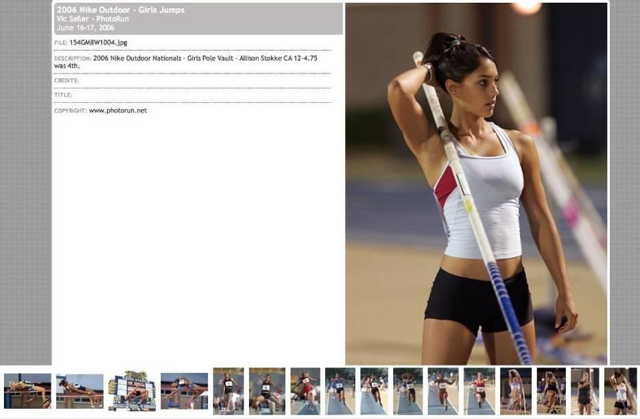 Screen ze strony DyeStat, na której pojawiło się zdjęcie Allison Stokke