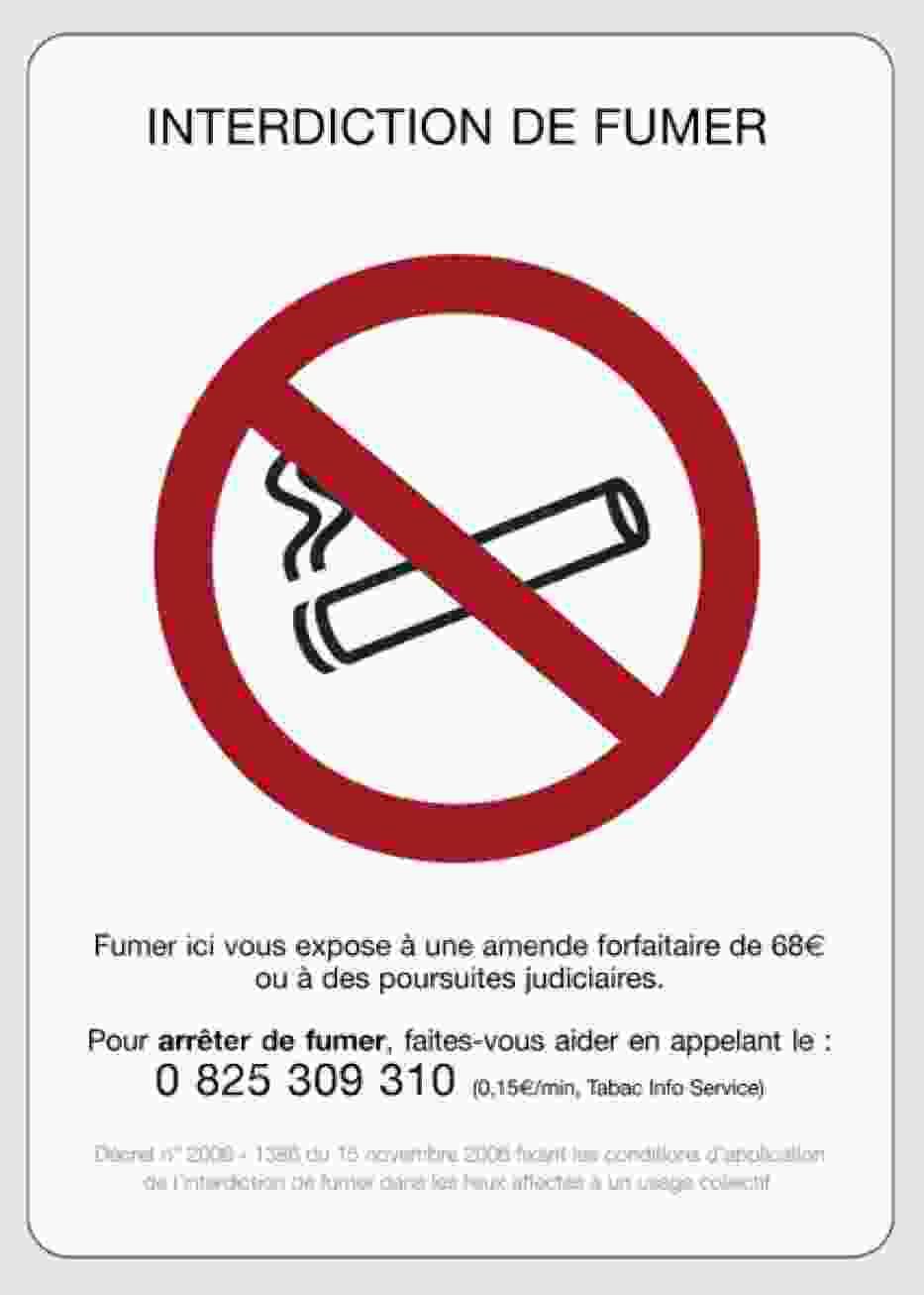 Ogólnodostępny plakat informujący o zakazie palenia w miejscach publicznych