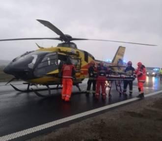 Wypadek busa na autostradzie A4. Ranna kobieta w szpitalu