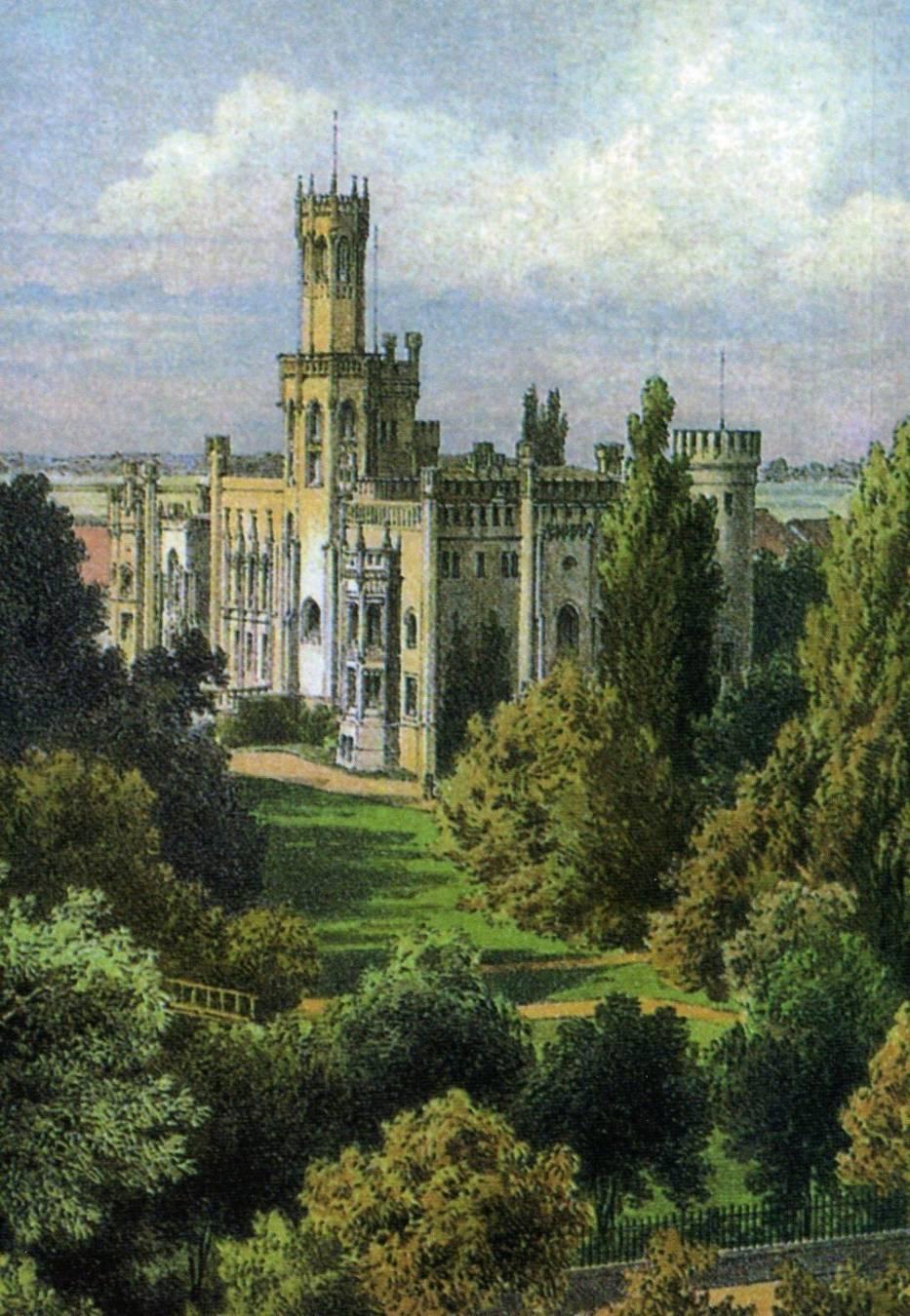 Zamek w Miechowicach na XIX litografii