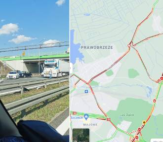 Wypadek na A6 w stronę Kołbaskowa. Policja kieruje na objazdy, które też się korkują