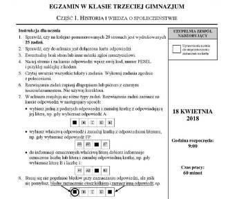 Egzamin Gimnazjalny 2018: Wos i Historia. Jaki był ten egzamin? - Bardzo prosty ODPOWIEDZI, ARKUSZE