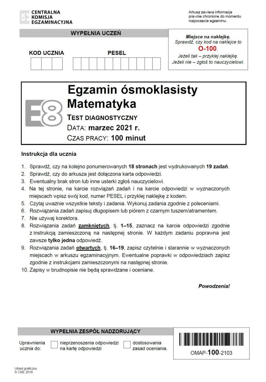 Próbny egzamin ósmoklasisty 2021 matematyka