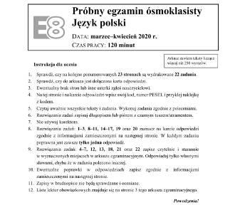 Próbny egzamin ósmoklasisty [MAMY ARKUSZ]