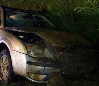 W Rogóźnie-Zamku samochód wypadł z drogi [zdjęcia]