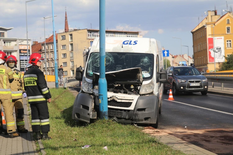 Wypadek na ulicy Wrocławskiej w Legnicy