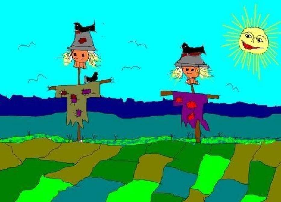 Niedaleko wioski Gugle stoi sobie strach na wróble, ale po co on tam stoi, gdy go nikt się już nie boi? Rys