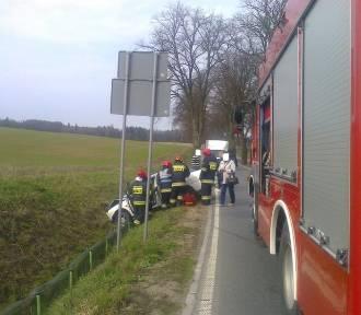 Wypadek w Stawkach. Samochód wylądował w rowie [ZDJĘCIA]
