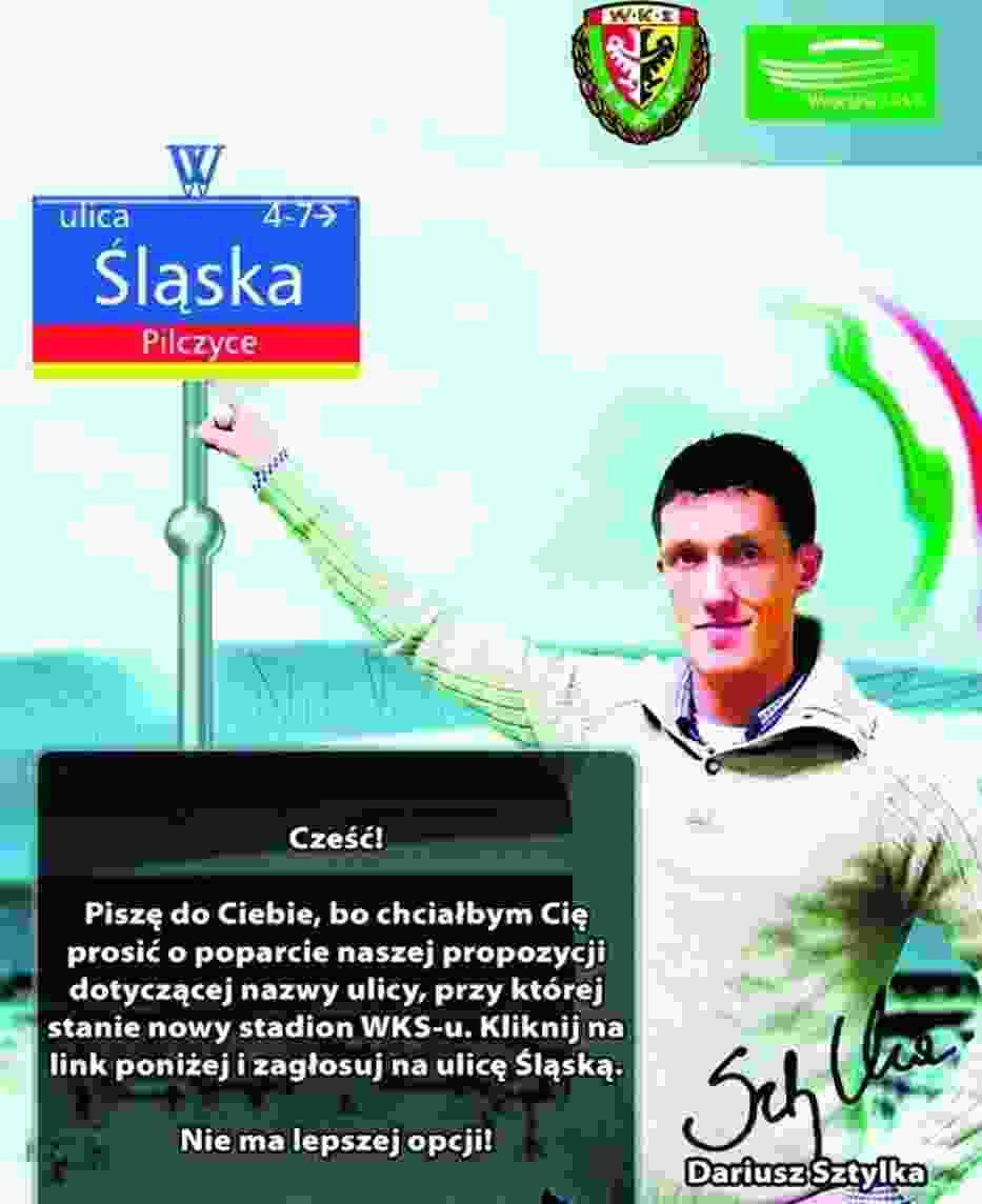 Tak piłkarz Dariusz Sztylka apelował o nadanie nazwy