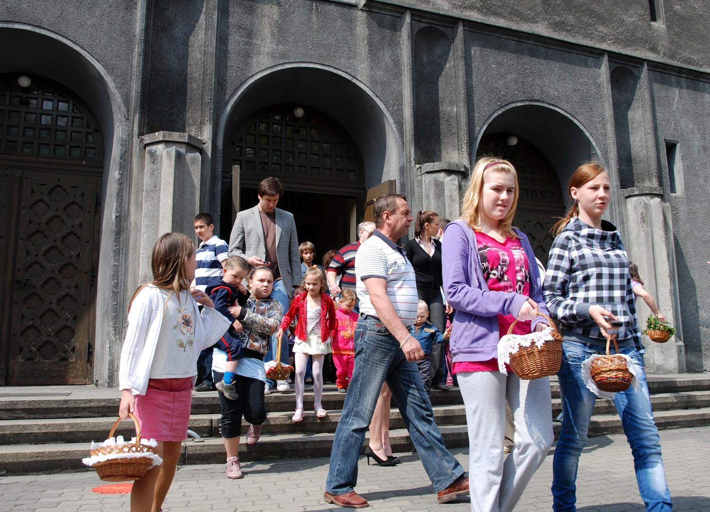 Święcenie pokarmów w kościele Świętej barbary