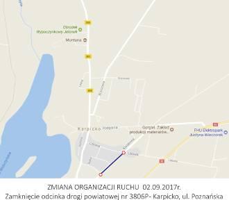 UWAGA! Zamknięcie drogi powiatowej 2 września
