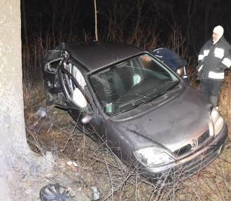 Pijany kierowca uderzył samochodem w drzewo, miał prawie 2 promile