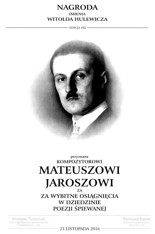 Mateusz Jarosz - nagroda Hulewicza