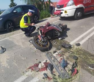 Wypadek z udziałem motocyklisty w Rozpędzinach. Interweniowało LPR