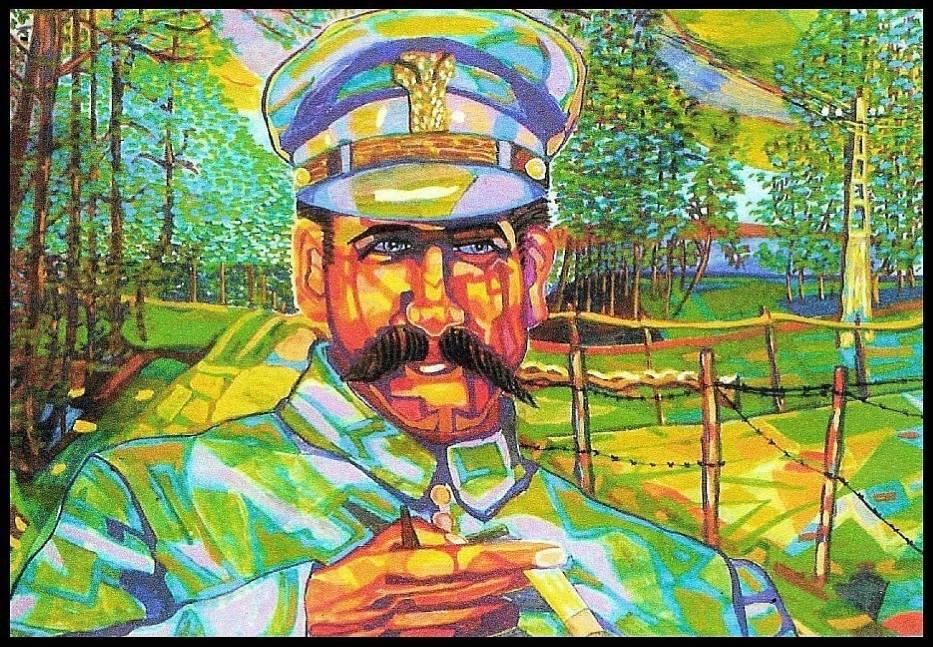 Portret Jerzego Piłsudskiego na tle przyrody powiatu legionowskiego został namalowany przez Marka Kraussa
