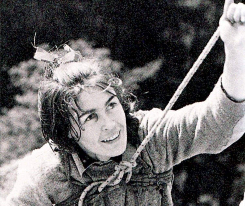 Wanda Rutkiewicz na Krzywej Turni w Sokolikach (lata 70