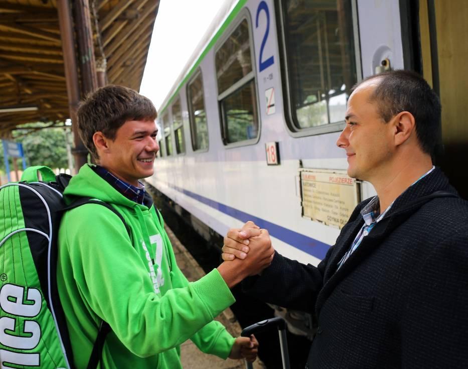 Kamil Majchrzak (od lewej) z ojcem