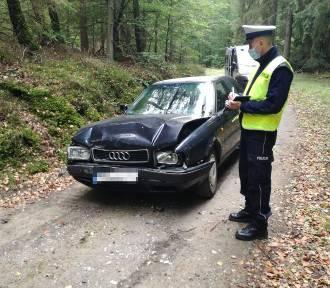 Wypadek podczas wymijania na drodze gruntowej w gminie Bytów