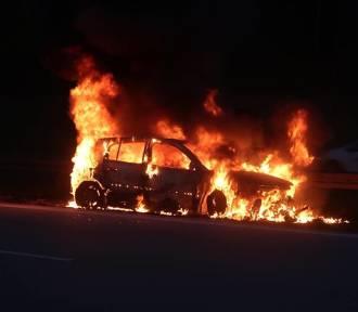 Pożar samochodu na A1 pod Piotrkowem. Auto spłonęło doszczętnie [ZDJĘCIA, FILM]