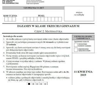 Egzamin gimnazjalny 2019 - matematyka [arkusz, odpowiedzi]