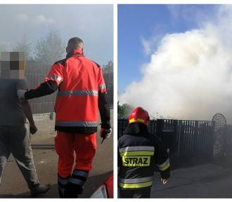 Groźny pożar domu na Michelinie we Włocławku. Dwie osoby poszkodowane [zdjęcia]