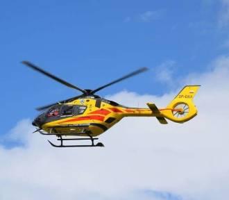 Żory: groźny wypadek. 87-latek wymusił pierwszeństwo motocykliście. Lądowało LPR