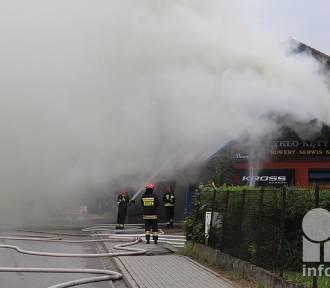 Kęty. Pożar sklepu rowerowego, strażacy walczą z ogniem