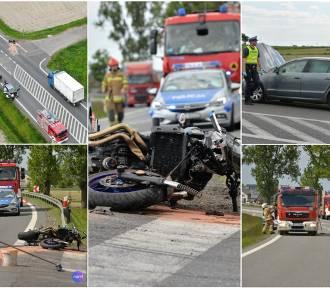 Wypadek na DK 91. Młody motocyklista trafił do szpitala [zdjęcia]