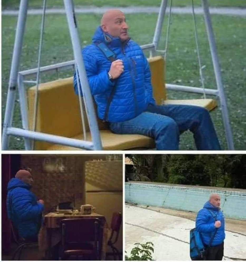 Marcin Najman w niebieskiej kurtce stał się popularnym motywem memów