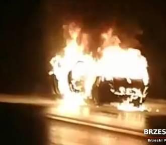 Pożar samochodu na DK 75. Pojazd płonął jak pochodnia