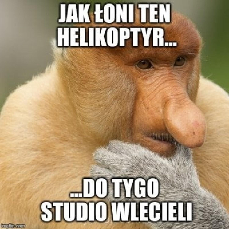 Helikopter w studiu Wiadomości TVP