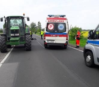 80-letni motocyklista staranował traktor [ZDJĘCIA]