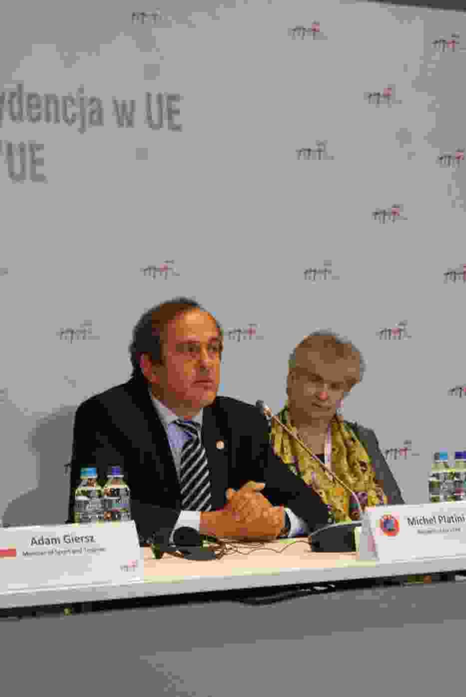 Michel Platini na konferencji prasowej w Krakowie