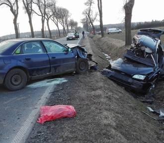 Wypadek na DK 42 w Faustiance. Czołowo zderzyły się audi A4 i osobowy ford. Jedna osoba nie żyje