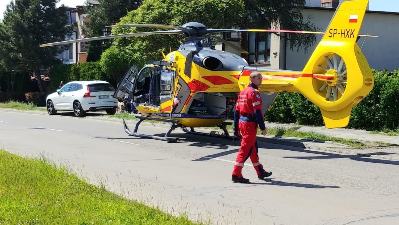 Interwencja śmigłowca Lotniczego Pogotowia Ratunkowego w Tychach