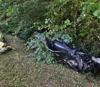 Kosy. BMW wypadło z drogi - dwie osoby trafiły do szpitala