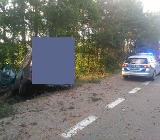 Wypadek na DK-6 w Mostach. Kierujący peugeotem uderzył w drzewo, pasażer został ranny FOTO