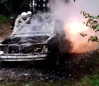 W lasach Beskidu Sądeckiego spłonął samochód terenowy