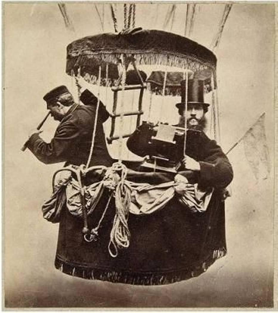 Konrad Brandel, Autoportret w gondoli balonu - 1865
