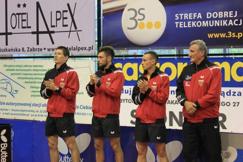 3S Polonia Bytom: Michał Napierała - trener, Paweł Chmiel, Robert Floras i Tomas Konecny