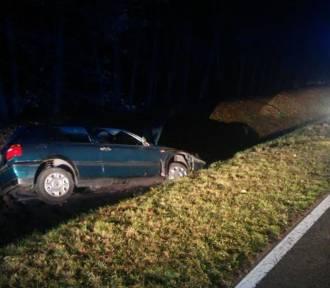 Kierowca wjechał do rowu w okolicach miejscowości Połupin. Wcześniej spowodował kolizję