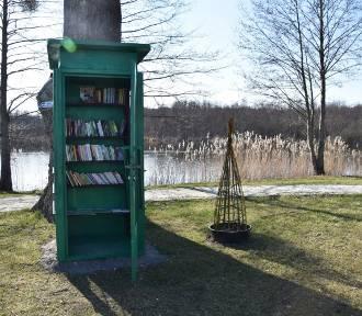 Antyczna budka telefoniczna z książkami stanęła przy jeziorku w Sękowie