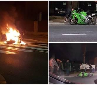 Wypadek motocyklistów w Sosnowcu. Maszyna się zapaliła