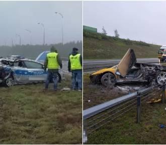Spłonął samochód lamborghini, zniszczony radiowóz. Seria wypadków na autostradzie A1