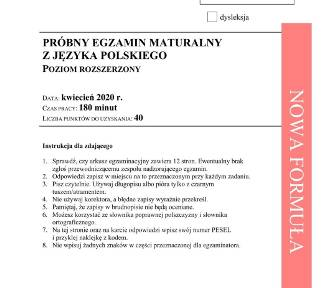 Matura próbna z j. polskiego, poziom rozszerzony. Arkusz CKE
