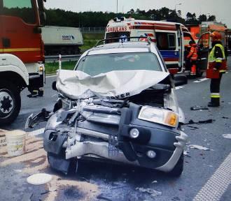 Małżeństwo z Krynicy ranne w wypadku na autostradzie [ZDJĘCIA]