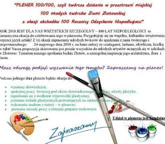 Zaproszenie na Plener 100/100 dla młodych twórców Ziemi Złotowskiej