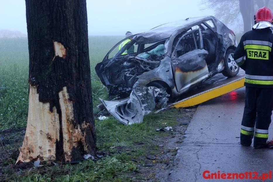 Tragiczny wypadek w Zieleniu. Kierowca spłonął w aucie