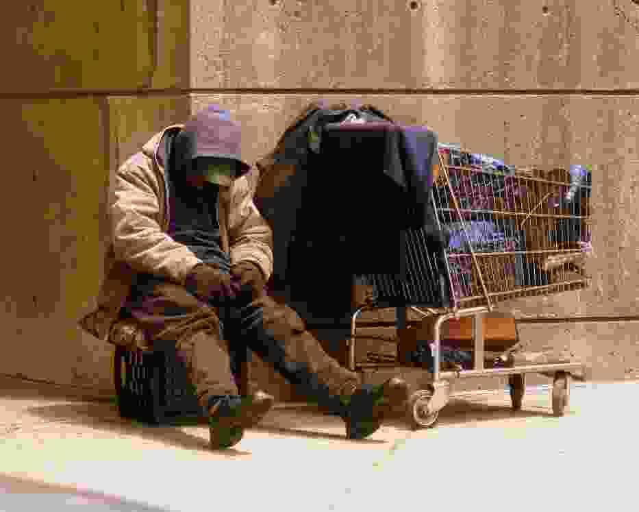 Bezdomny weteran na ulicach Bostonu