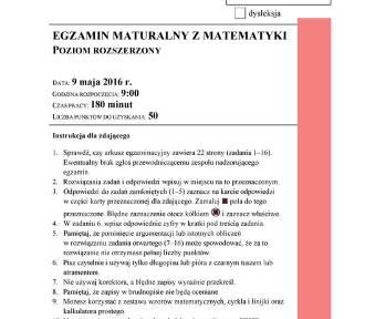 Matura Matematyka 2016: Egzamin z matematyki. Mamy ARKUSZ CKE [ODPOWIEDZI, ROZWIĄZANIA]